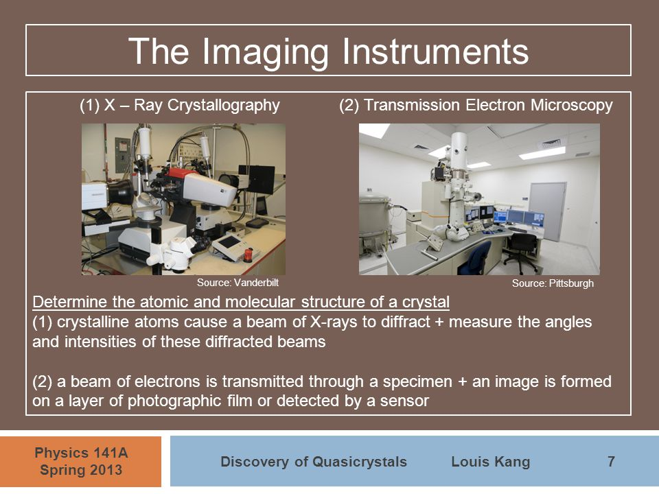 7 Physics 141A Spring 2013 Discovery of QuasicrystalsLouis Kang The Imaging Instruments (1) X – Ray Crystallography(2) Transmission Electron Microscop