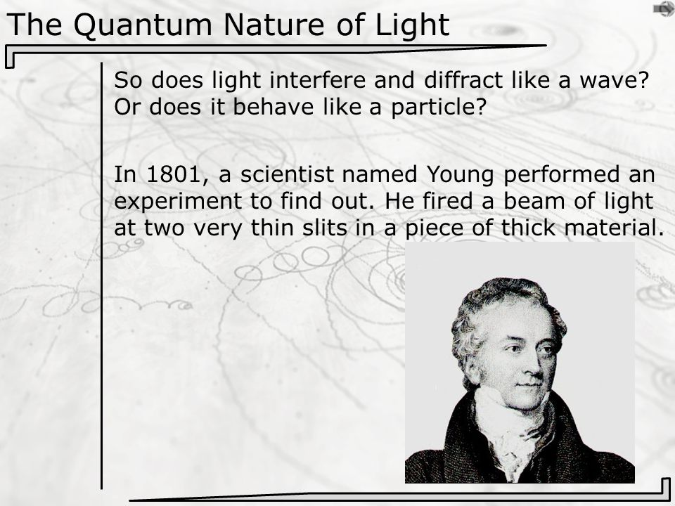 The Quantum Nature of Light So does light interfere and diffract like a wave.