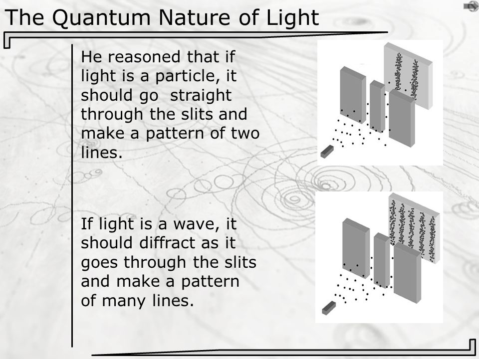 The Quantum Nature of Light He reasoned that if light is a particle, it should go straight through the slits and make a pattern of two lines.