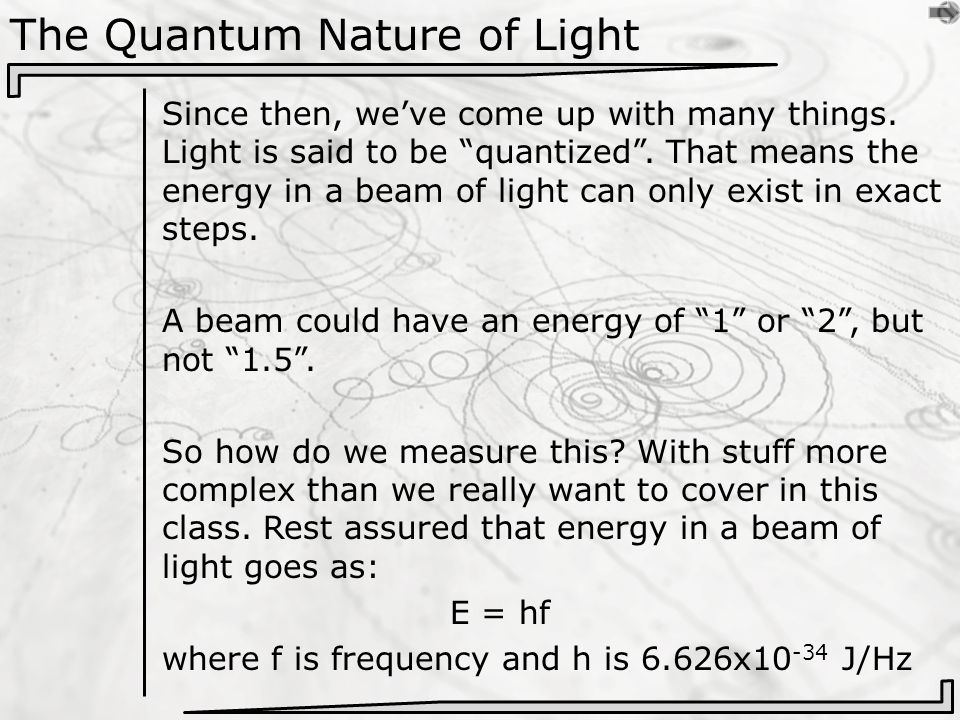 The Quantum Nature of Light Since then, we've come up with many things.