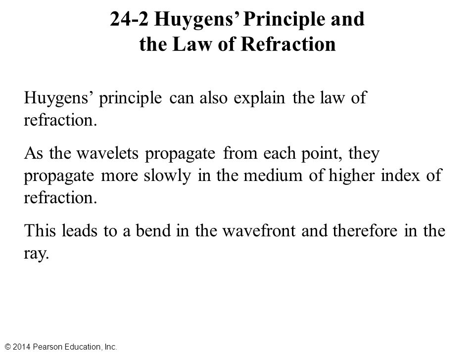 24-2 Huygens' Principle and the Law of Refraction Huygens' principle can also explain the law of refraction. As the wavelets propagate from each point