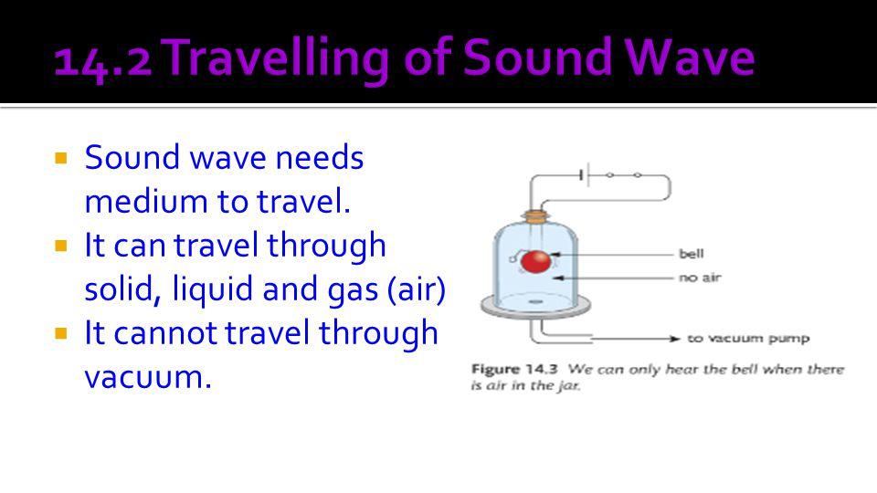  Sound wave needs medium to travel.