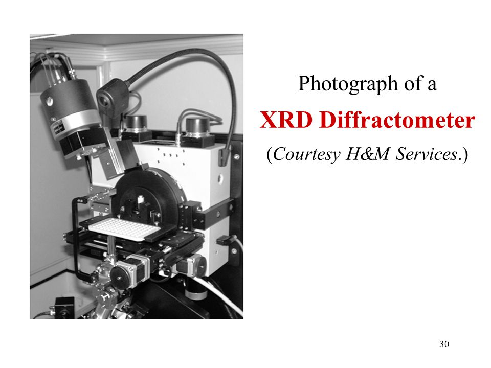 Photograph of a XRD Diffractometer (Courtesy H&M Services.) 30