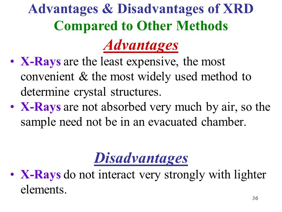 Advantages X-Rays are the least expensive, the most convenient & the most widely used method to determine crystal structures. X-Rays are not absorbed