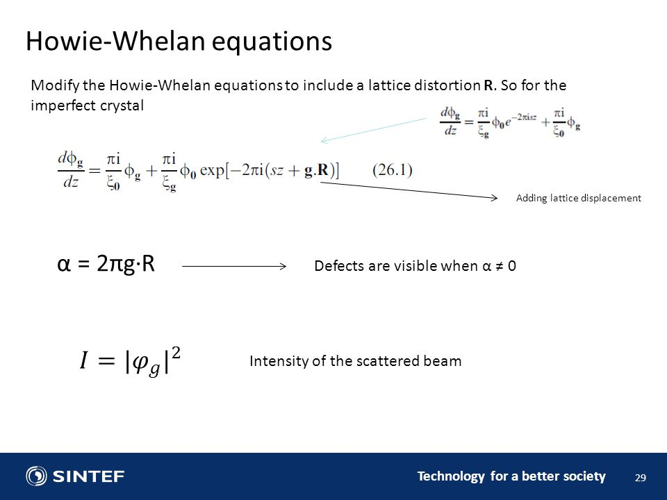 Technology for a better society 29 Howie-Whelan equations Modify the Howie-Whelan equations to include a lattice distortion R.