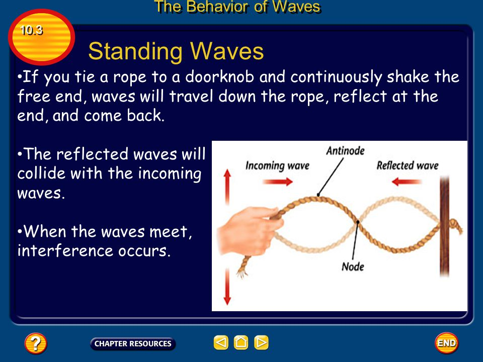 Destructive Interference In destructive interference, the waves subtract from each other as they overlap. 10.3 The Behavior of Waves This happens when