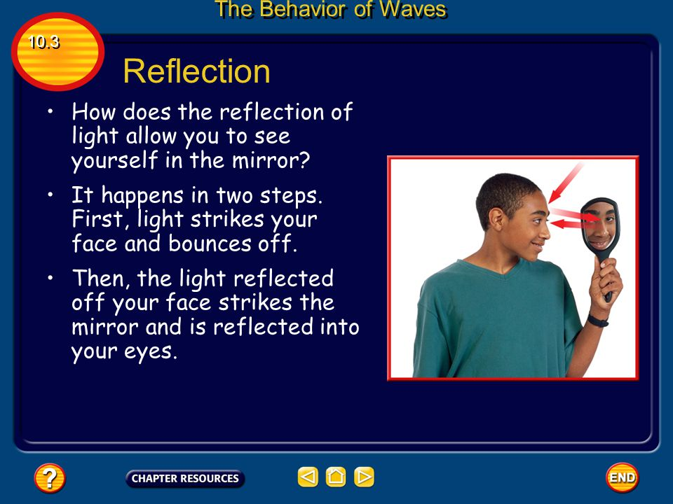 Reflection Reflection occurs when a wave strikes an object and bounces off of it. All types of waves  including sound, water, and light waves  can b