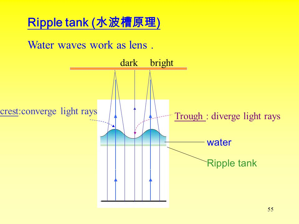 54 Properties of Waves : 1.Reflection 2.Refraction 3.Diffraction 4.Interference Use water waves to demonstrate wave properties.