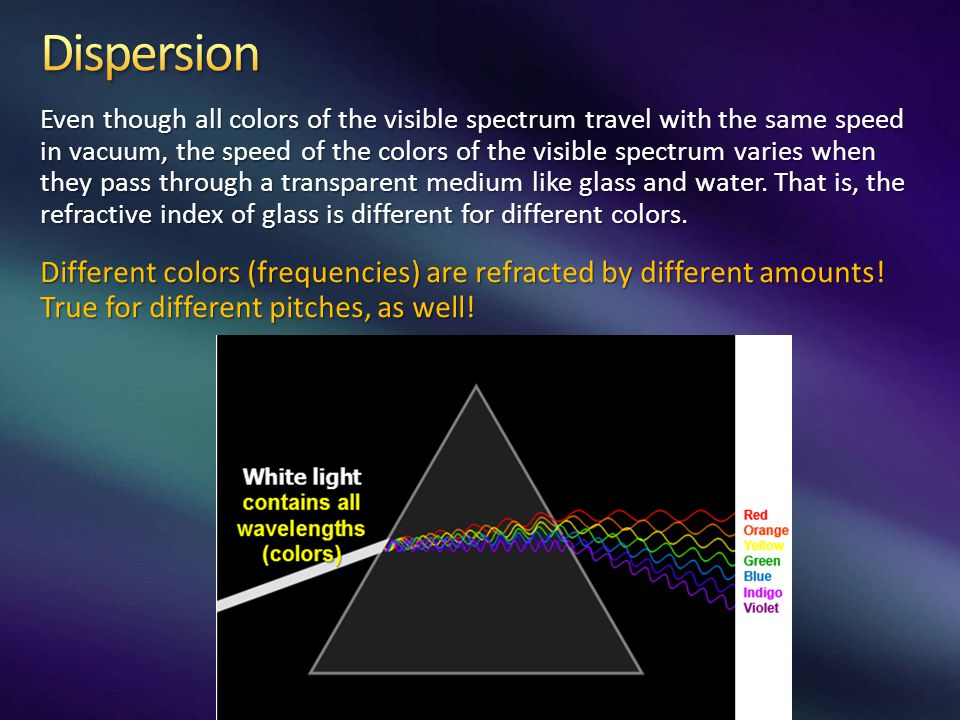 Even though all colors of the visible spectrum travel with the same speed in vacuum, the speed of the colors of the visible spectrum varies when they pass through a transparent medium like glass and water.