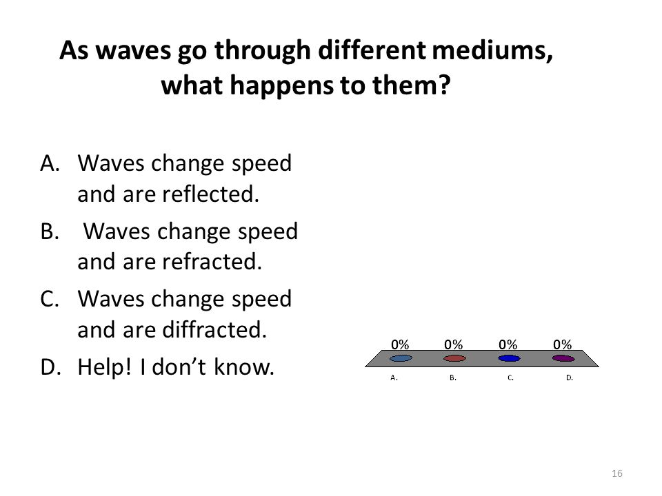 As waves go through different mediums, what happens to them? 16 A.Waves change speed and are reflected. B. Waves change speed and are refracted. C.Wav