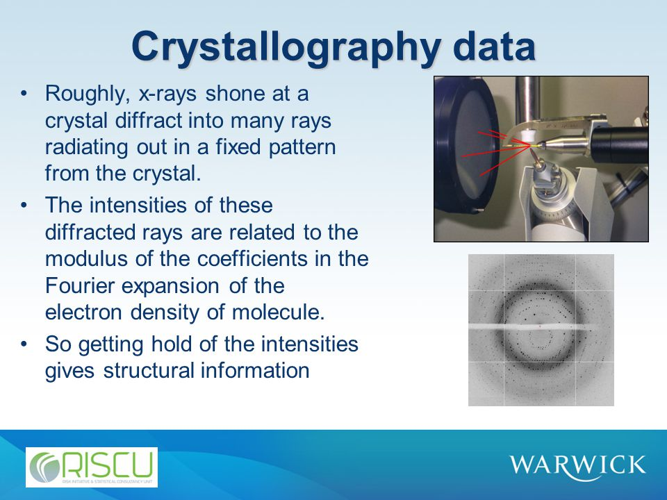 Crystallography data Roughly, x-rays shone at a crystal diffract into many rays radiating out in a fixed pattern from the crystal.