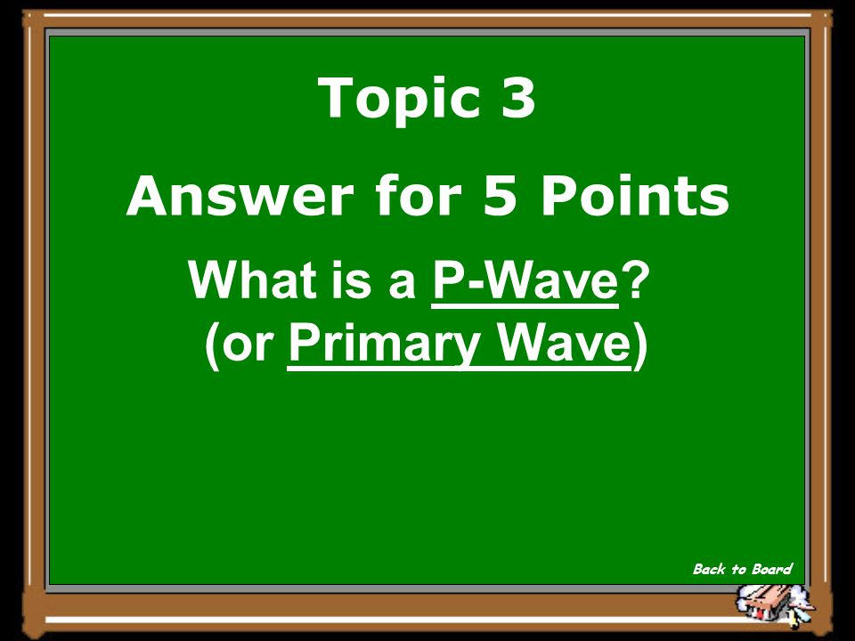 Topic 3 Question for 5 Points This wave causes the crust to move back and forth in the ground like an accordion.