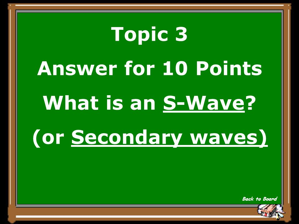 Topic 3 Question for 10 Points This wave causes the crust to vibrate from side-to-side and up and down. Show Answer