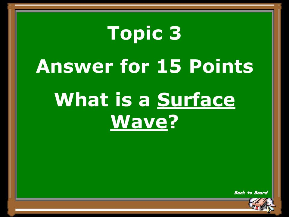 Topic 3 Question for 15 Points This wave causes the ground surface to roll with a wavelike motion.