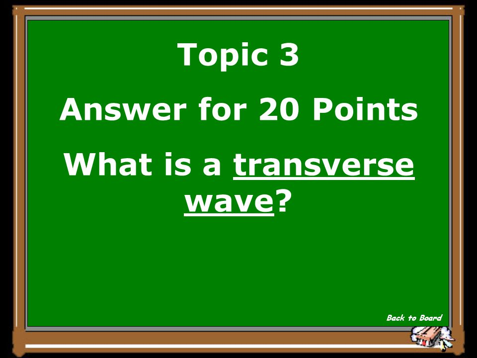 Topic 3 Question for 20 Points This wave moves perpendicular to the direction the wave itself is moving (HINT: think of the movement of a string being