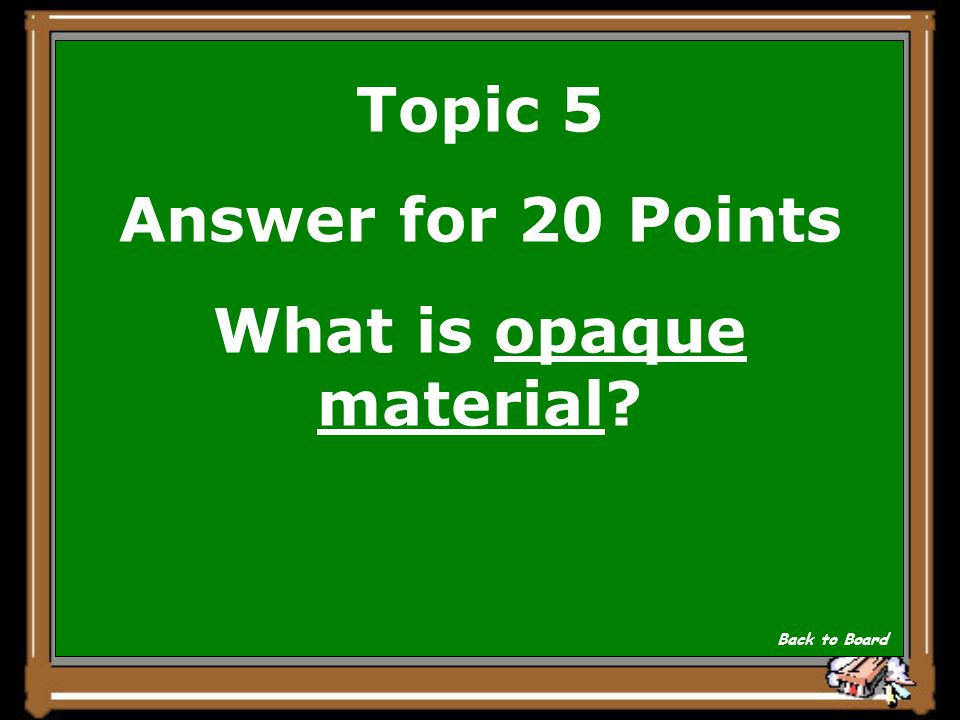 Topic 5 Question for 20 Points A material that reflects or absorbs all of the light that strikes it.