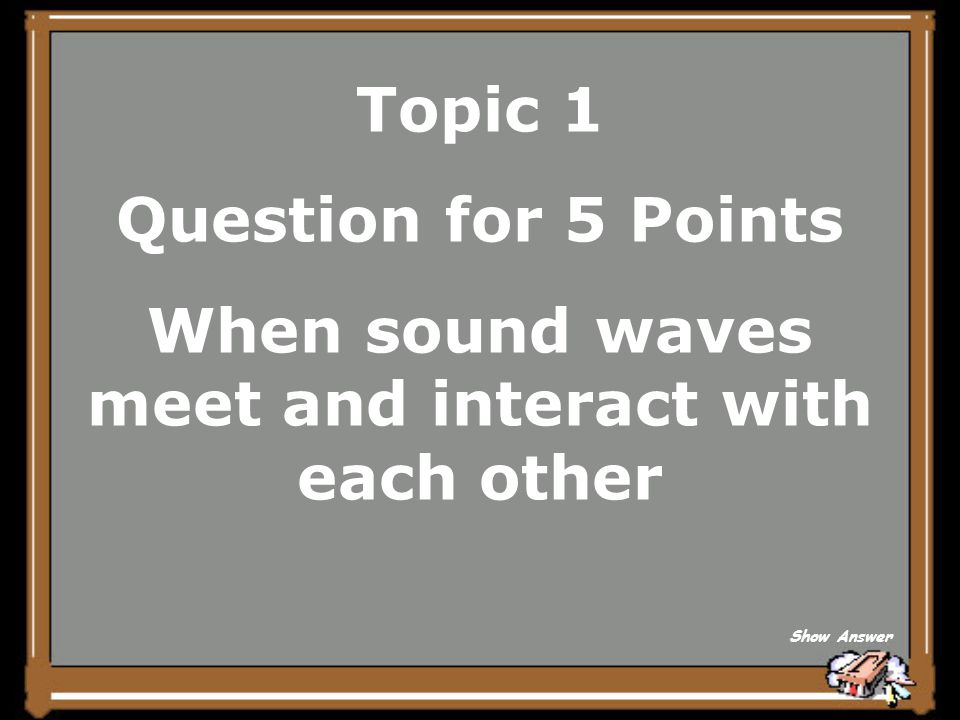 Topic 1 Question for 5 Points When sound waves meet and interact with each other Show Answer