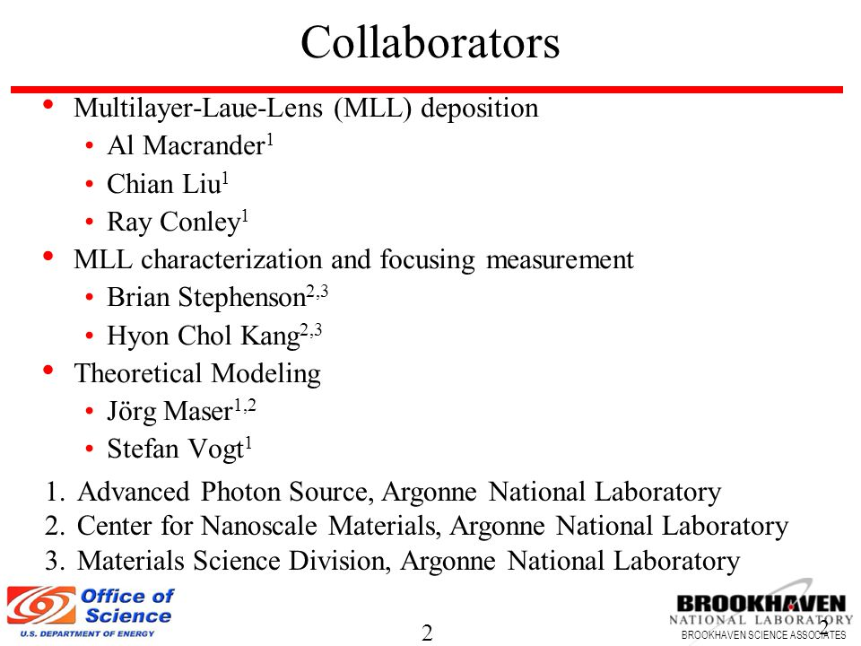 2 BROOKHAVEN SCIENCE ASSOCIATES 2 Multilayer-Laue-Lens (MLL) deposition Al Macrander 1 Chian Liu 1 Ray Conley 1 MLL characterization and focusing measurement Brian Stephenson 2,3 Hyon Chol Kang 2,3 Theoretical Modeling Jörg Maser 1,2 Stefan Vogt 1 Collaborators 1.Advanced Photon Source, Argonne National Laboratory 2.Center for Nanoscale Materials, Argonne National Laboratory 3.Materials Science Division, Argonne National Laboratory
