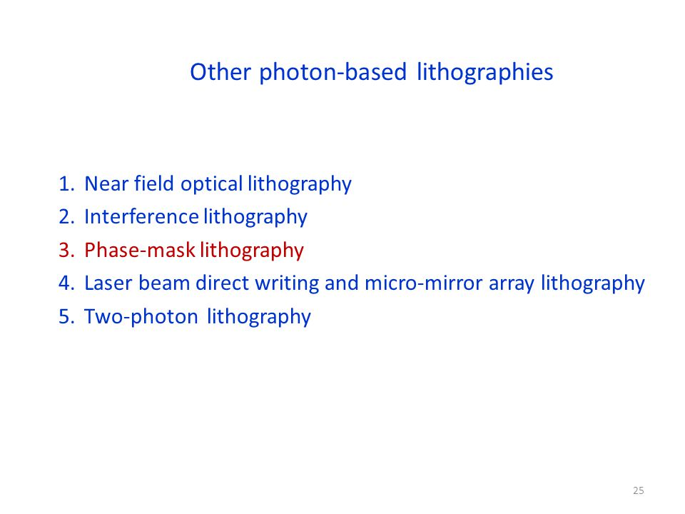 Other photon-based lithographies 1.Near field optical lithography 2.Interference lithography 3.Phase-mask lithography 4.Laser beam direct writing and micro-mirror array lithography 5.Two-photon lithography 25