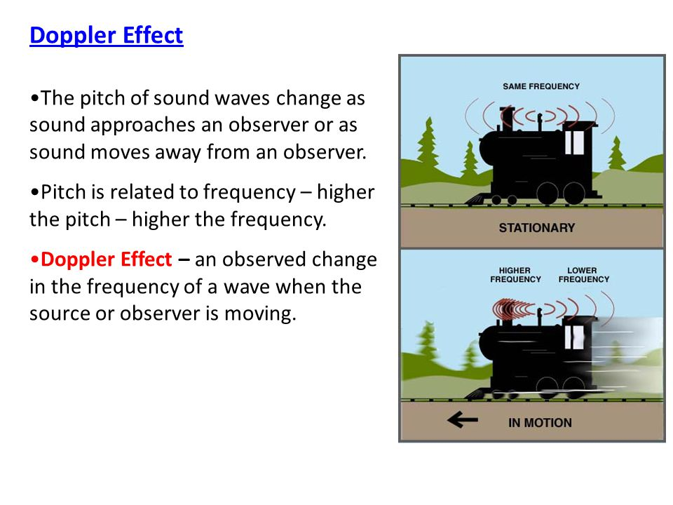 Doppler Effect The pitch of sound waves change as sound approaches an observer or as sound moves away from an observer.