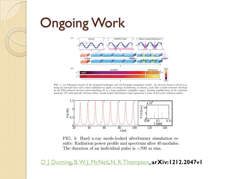 Ongoing Work D. J. DunningD. J. Dunning, B. W. J. McNeil, N. R. Thompson, arXiv:1212.2047v1B. W. J. McNeilN. R. Thompson