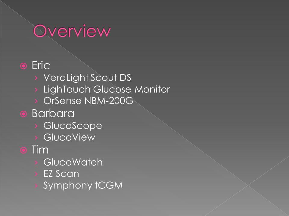  Eric › VeraLight Scout DS › LighTouch Glucose Monitor › OrSense NBM-200G  Barbara › GlucoScope › GlucoView  Tim › GlucoWatch › EZ Scan › Symphony