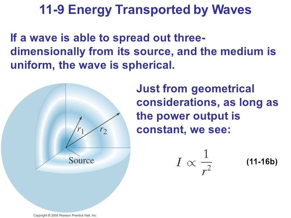11-9 Energy Transported by Waves If a wave is able to spread out three- dimensionally from its source, and the medium is uniform, the wave is spherical.