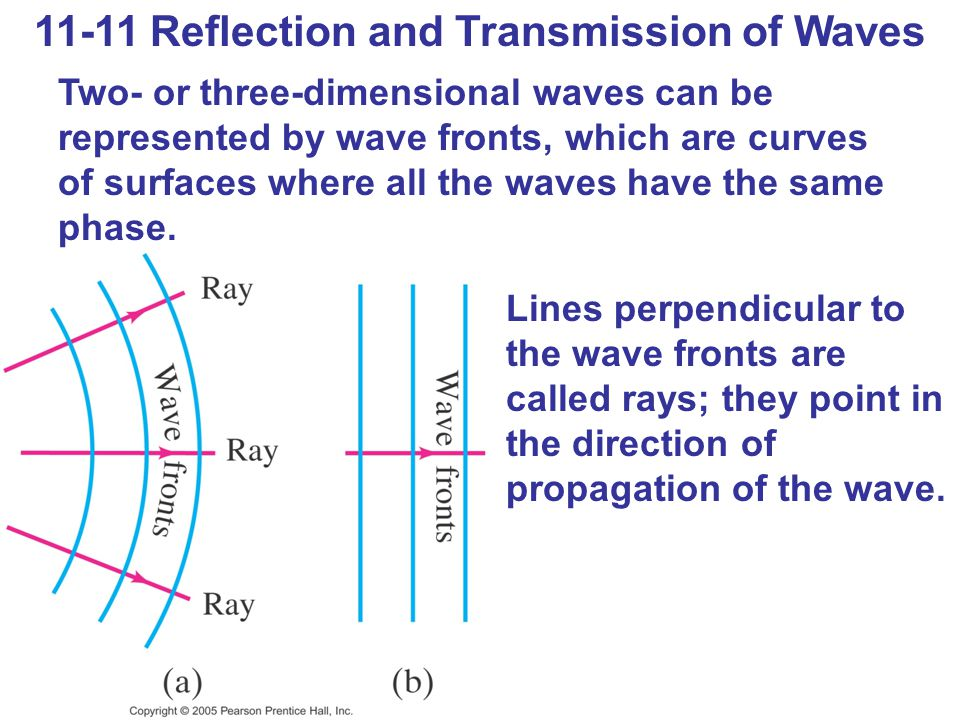 11-11 Reflection and Transmission of Waves Two- or three-dimensional waves can be represented by wave fronts, which are curves of surfaces where all the waves have the same phase.