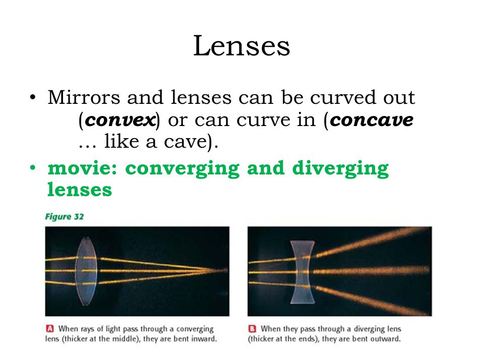 Lenses Mirrors and lenses can be curved out ( convex ) or can curve in ( concave … like a cave). movie: converging and diverging lenses