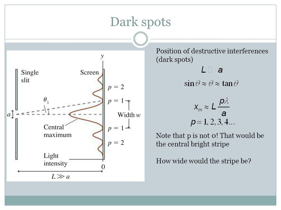 Dark spots Position of destructive interferences (dark spots) Note that p is not 0! That would be the central bright stripe How wide would the stripe