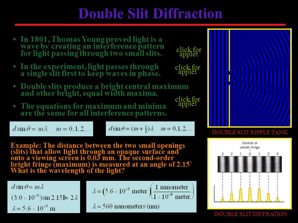 Double Slit Diffraction In 1801, Thomas Young proved light is a wave by creating an interference pattern for light passing through two small slits.