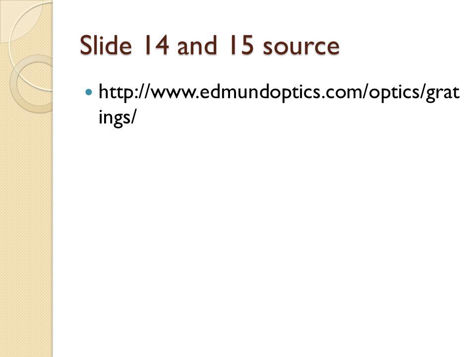 Slide 14 and 15 source http://www.edmundoptics.com/optics/grat ings/