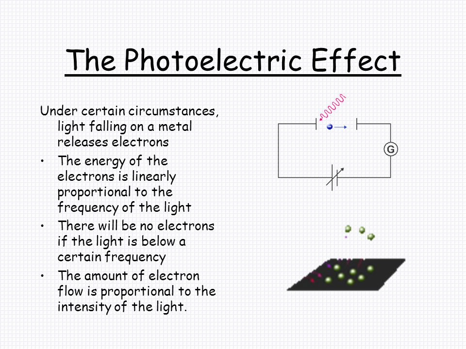 The Photoelectric Effect Under certain circumstances, light falling on a metal releases electrons The energy of the electrons is linearly proportional