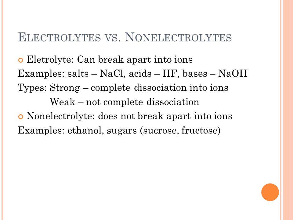 E LECTROLYTES VS.