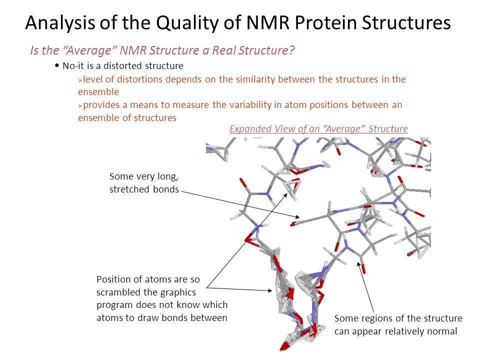 """Analysis of the Quality of NMR Protein Structures Is the """"Average"""" NMR Structure a Real Structure? No-it is a distorted structure  level of distortio"""