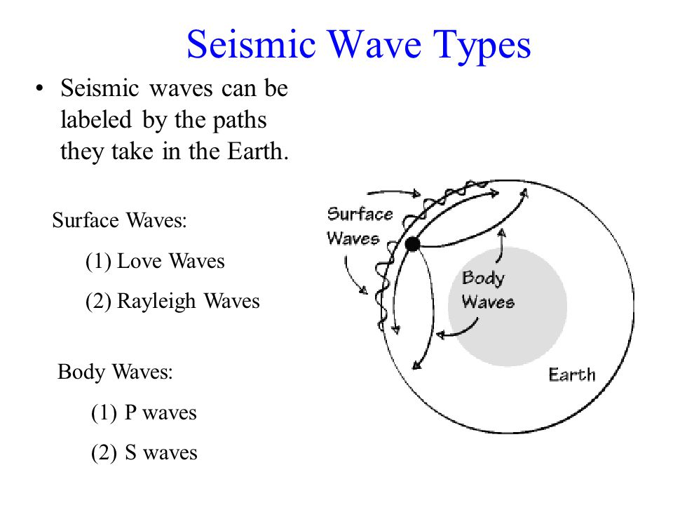 Seismic Wave Types Seismic waves can be labeled by the paths they take in the Earth.