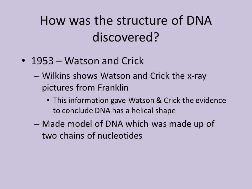 How was the structure of DNA discovered.