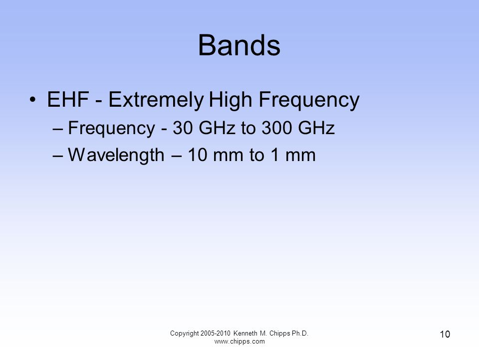 Bands EHF - Extremely High Frequency –Frequency - 30 GHz to 300 GHz –Wavelength – 10 mm to 1 mm Copyright 2005-2010 Kenneth M. Chipps Ph.D. www.chipps