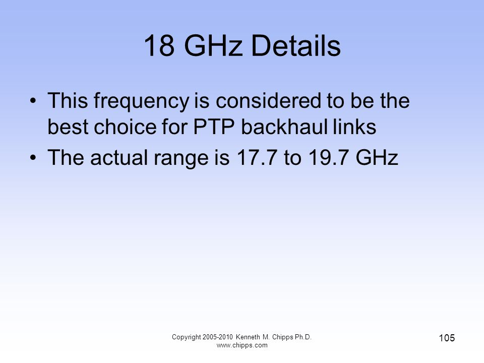 18 GHz Details This frequency is considered to be the best choice for PTP backhaul links The actual range is 17.7 to 19.7 GHz Copyright 2005-2010 Kenn