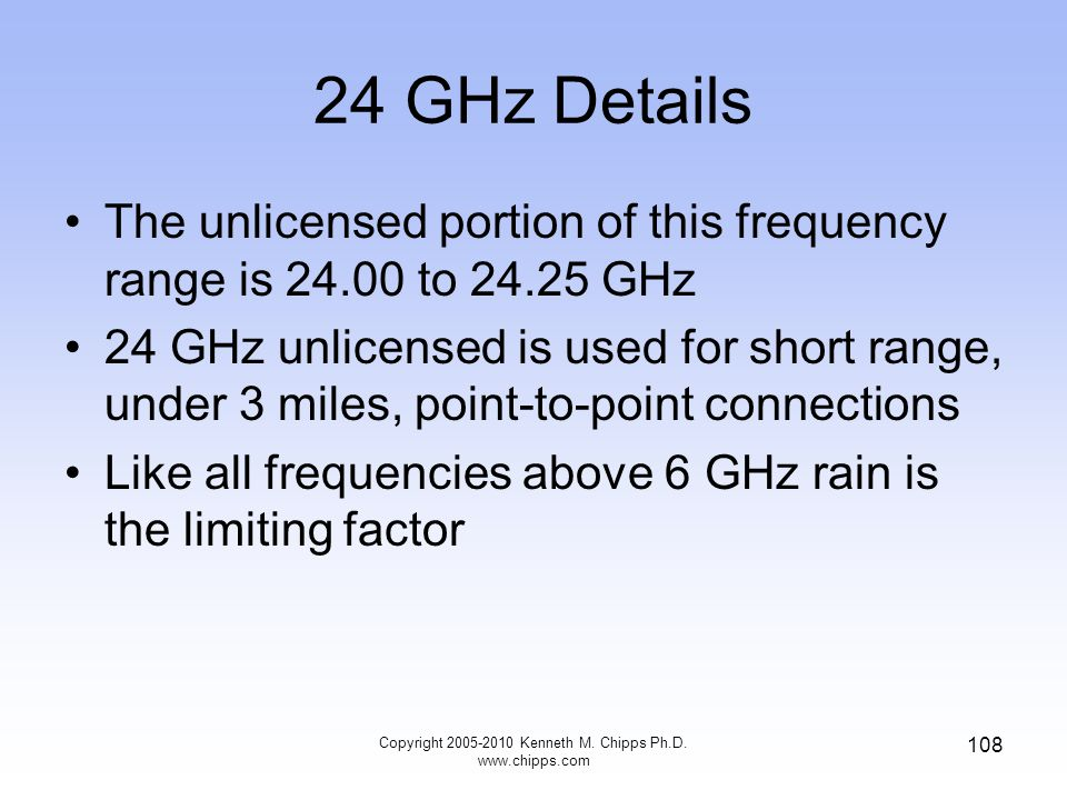 24 GHz Details The unlicensed portion of this frequency range is 24.00 to 24.25 GHz 24 GHz unlicensed is used for short range, under 3 miles, point-to