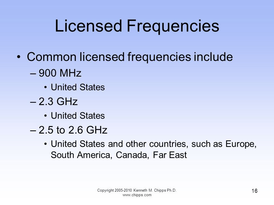 Licensed Frequencies Common licensed frequencies include –900 MHz United States –2.3 GHz United States –2.5 to 2.6 GHz United States and other countri