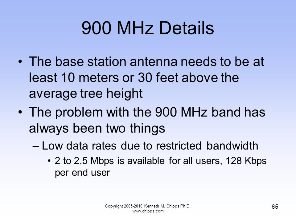 900 MHz Details The base station antenna needs to be at least 10 meters or 30 feet above the average tree height The problem with the 900 MHz band has