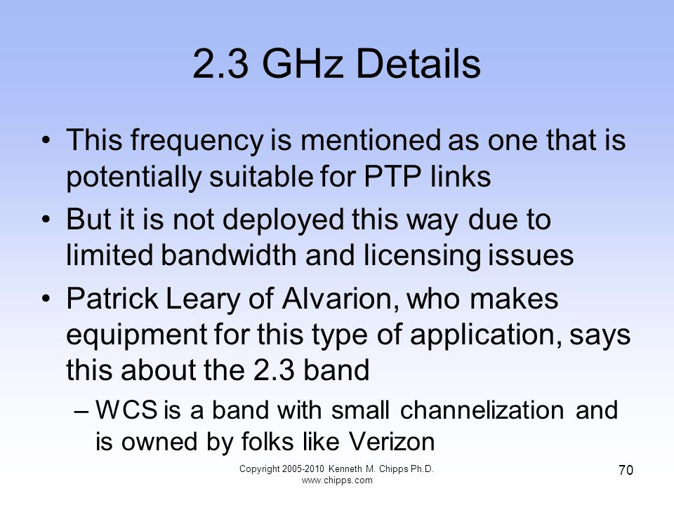 2.3 GHz Details This frequency is mentioned as one that is potentially suitable for PTP links But it is not deployed this way due to limited bandwidth