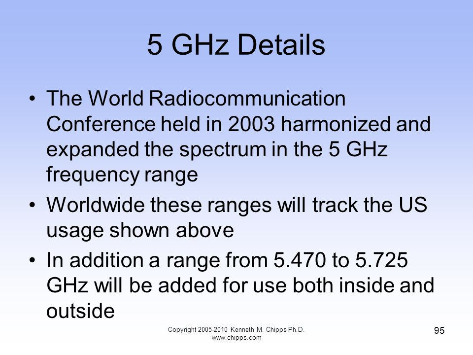 5 GHz Details The World Radiocommunication Conference held in 2003 harmonized and expanded the spectrum in the 5 GHz frequency range Worldwide these r
