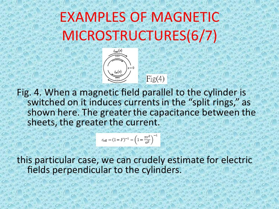 "EXAMPLES OF MAGNETIC MICROSTRUCTURES(6/7) Fig. 4. When a magnetic field parallel to the cylinder is switched on it induces currents in the ""split rings"