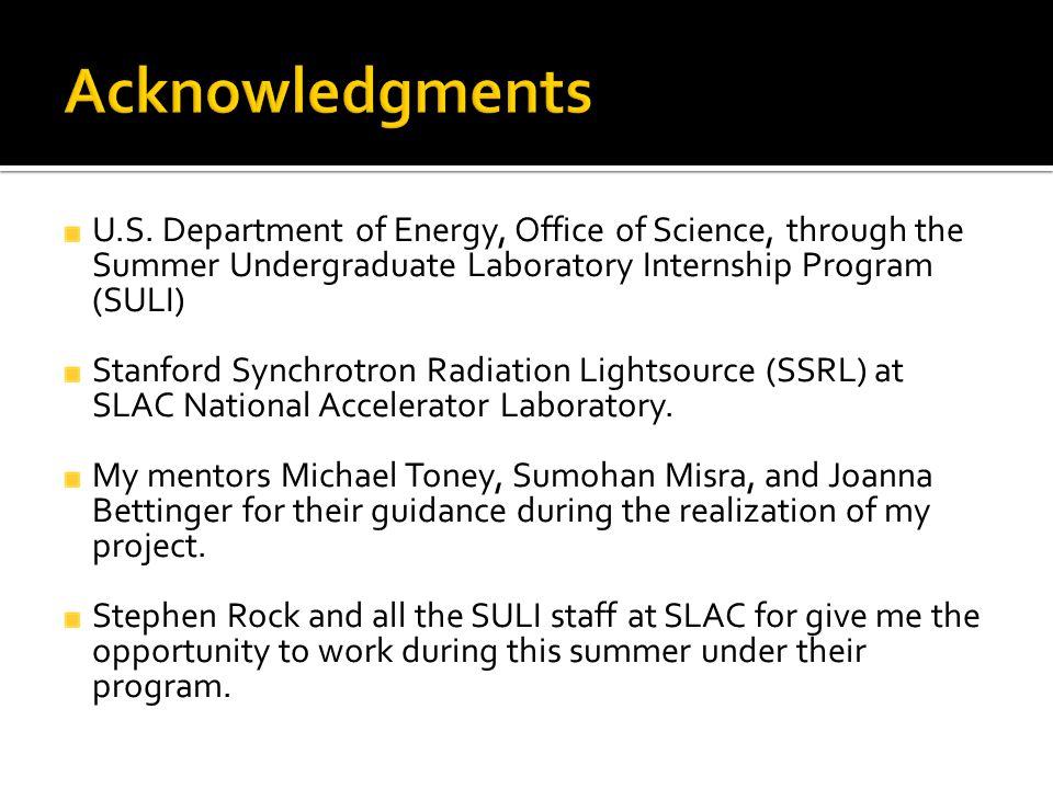 U.S. Department of Energy, Office of Science, through the Summer Undergraduate Laboratory Internship Program (SULI) Stanford Synchrotron Radiation Lig