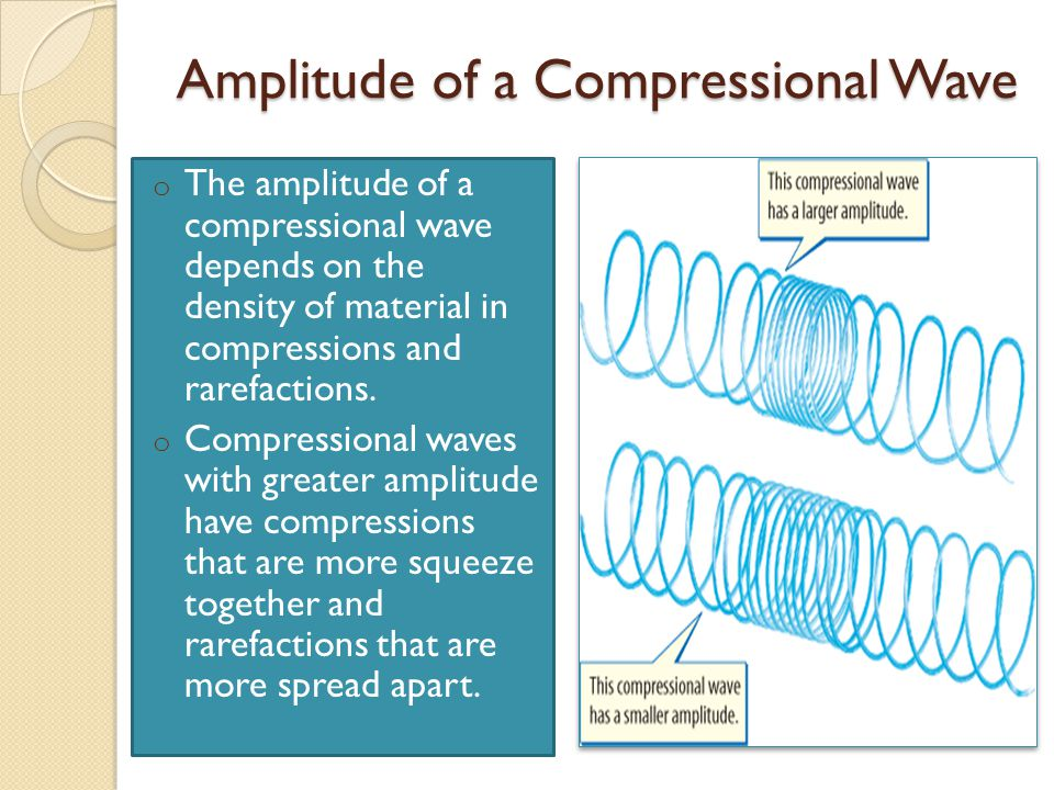 Amplitude of a Compressional Wave o The amplitude of a compressional wave depends on the density of material in compressions and rarefactions.