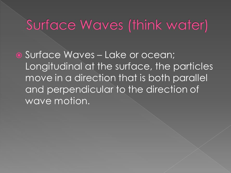  Surface Waves – Lake or ocean; Longitudinal at the surface, the particles move in a direction that is both parallel and perpendicular to the directi