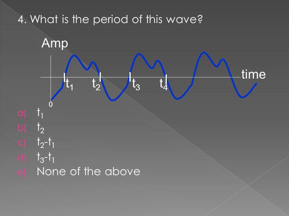 4. What is the period of this wave? a) t 1 b) t 2 c) t 2 -t 1 d) t 3 -t 1 e) None of the above t1t1 t2t2 t3t3 Amp time 0 t4t4