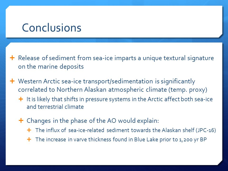 Conclusions  Release of sediment from sea-ice imparts a unique textural signature on the marine deposits  Western Arctic sea-ice transport/sedimentation is significantly correlated to Northern Alaskan atmospheric climate (temp.